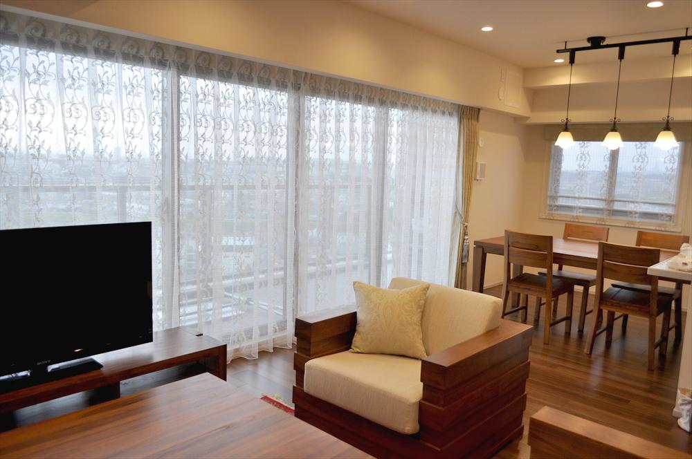 オランダ製ドレープ パウダープリント 新築マンション 大きな窓