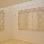 ベージュのダマスク柄 ダブルシェード 子供部屋のカーテン ストライプ柄 緒方設計事務所