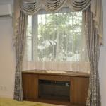 リフォームのお家にバランスカーテン グレージュのドレープ 奈良県
