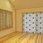シャンタン地に刺繍のドレープ ボタニカル柄カーテン 2世帯住宅 大喜工務店