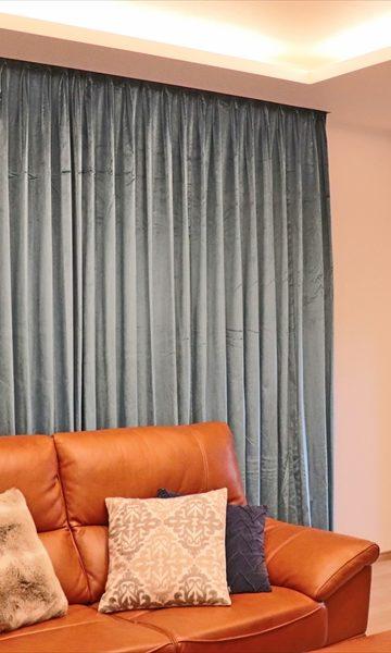 ベルベット素材のカーテン カーテンボックス 太陽住宅